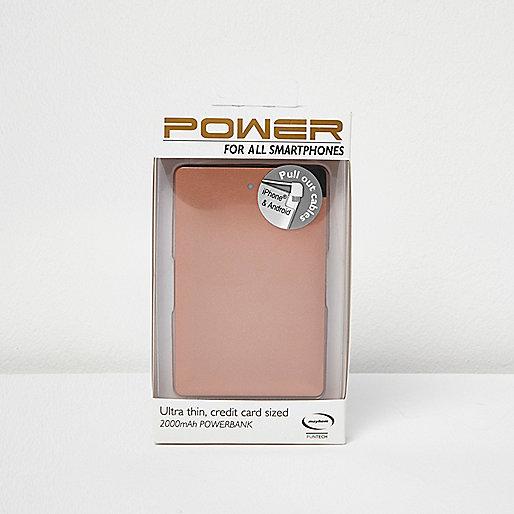 Chargeur power bank pour smartphone doré rose
