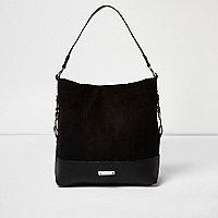 Black panel Western slouch bag