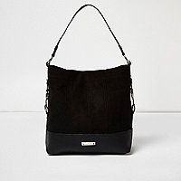 Black panel Western slouch handbag
