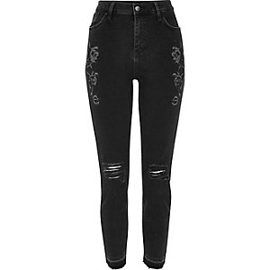 Black floral ripped Lori high rise jeans
