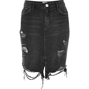 Black washed hummingbird midi denim skirt