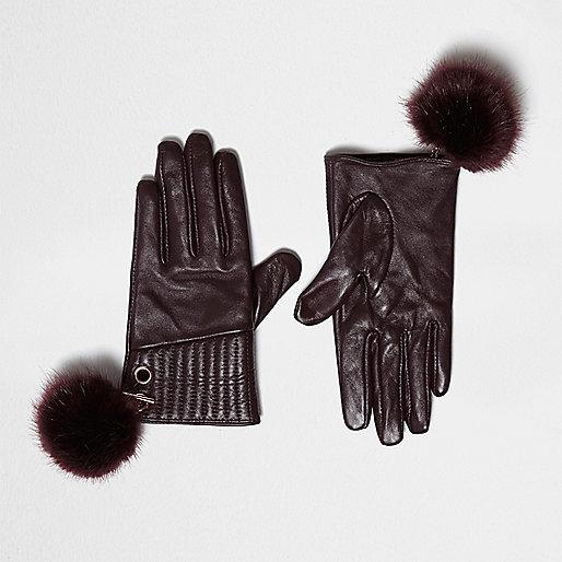 Red leather pom pom gloves