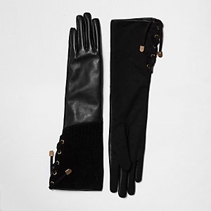 Black suede and leather gloves