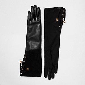 Gants noirs en cuir et daim