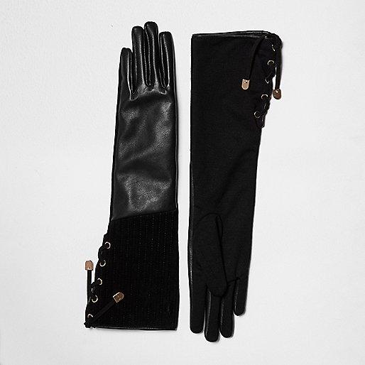 Schwarze Handschuhe aus Wildleder und Leder