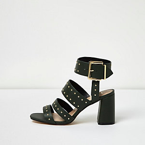 Dark green rocker stud block heel sandals