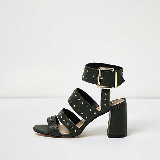 Dark green rocker stud block heel sandals