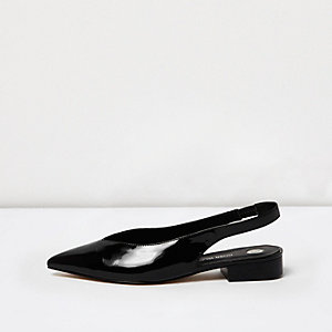 Black patent point toe slingbacks