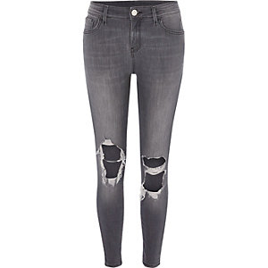 Grey ripped Amelie super skinny jeans