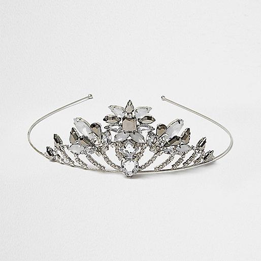 Silver tone jewel embellished tiara