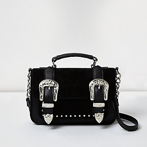 Black western buckle mini satchel bag