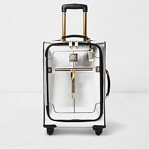 Valise argentée à bordure dorée