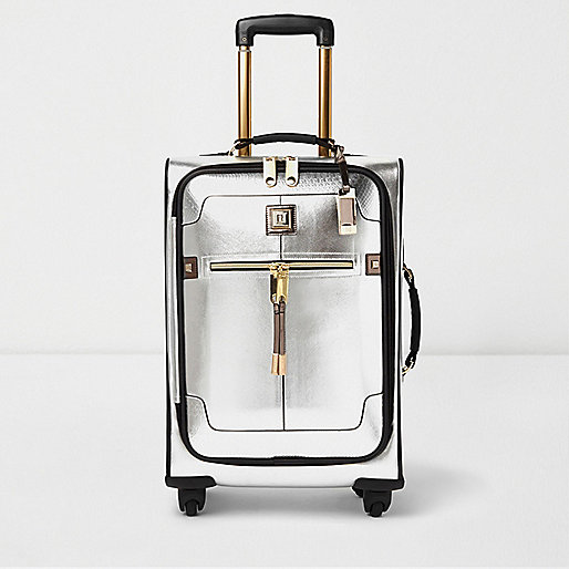Silver and gold trim suitcase