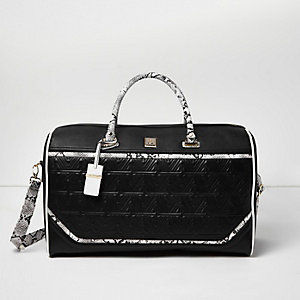 Black textured snake print panel weekend bag