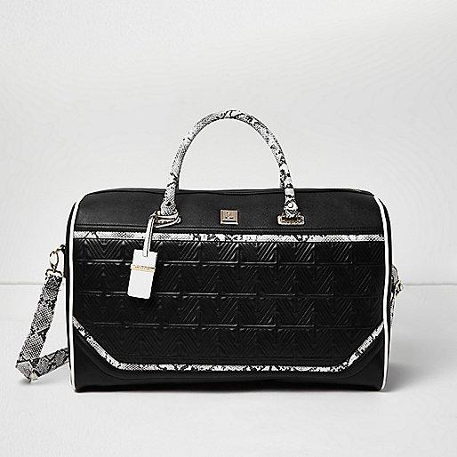 Black textured snake print panel weekend bag