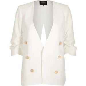 White split back military blazer