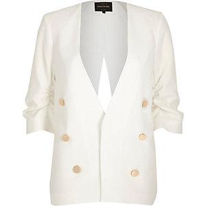 White split back military blazer