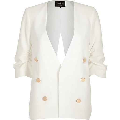 Blazer style militaire blanc fendu au dos