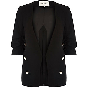 Black split back military blazer
