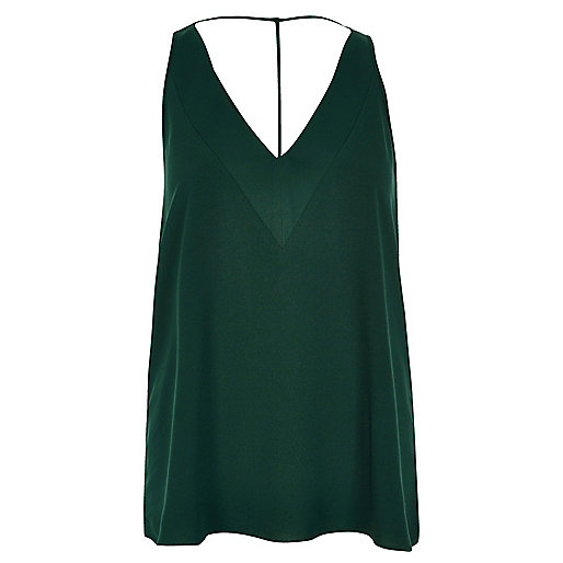 Dark green T-bar cami top