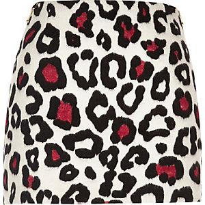 White leopard print pelmet skirt