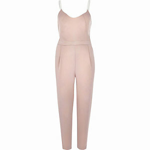 Light pink satin cami jumpsuit