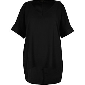 Black satin cold shoulder tunic