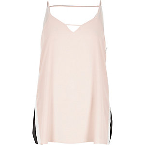 Blush pink sports panel cami top
