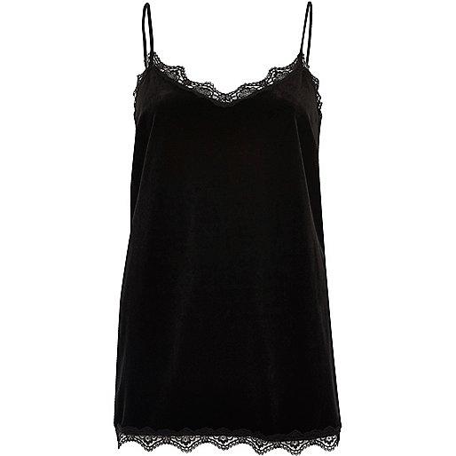 Black velvet lace trim cami top