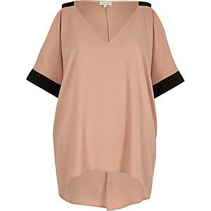 Light pink cold shoulder tunic