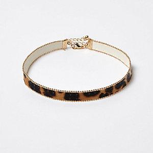 Collier ras du cou imprimé léopard marron