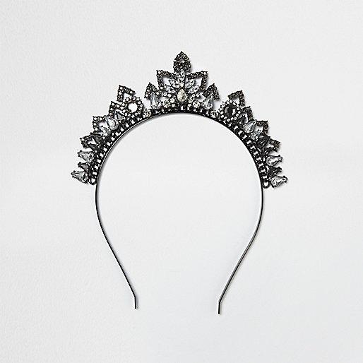 Dark silver embellished tiara