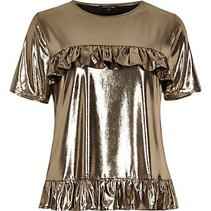 Gold metallic frill front T-shirt