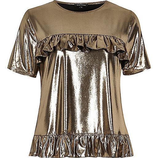 Gold metallic frill front T-shirt