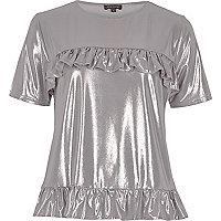 T-Shirt mit Rüschen in Silber-Metallic