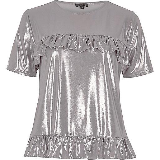 T-shirt argenté métallisé à volants