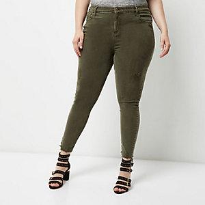 RI Plus – Amelie – Super Skinny Jeans in Khaki