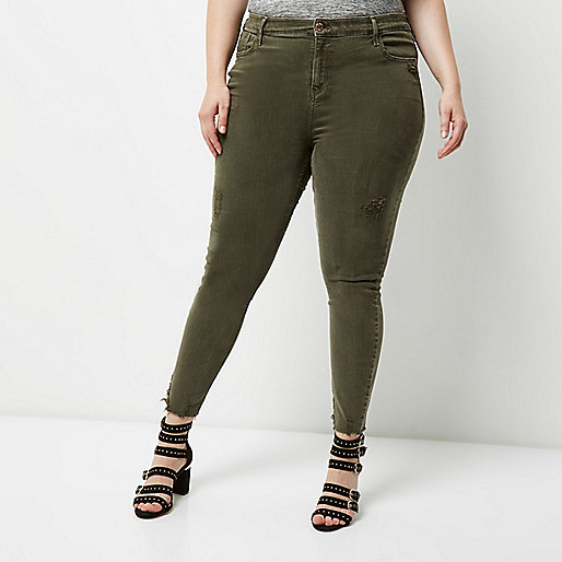RI Plus – Amelie – Super Skinny Jeans in Khaki