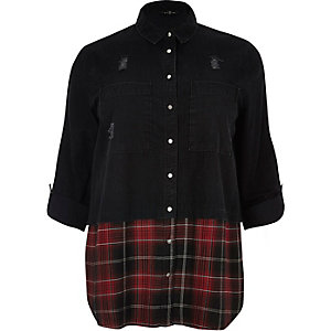 Plus black denim shirt with check hem