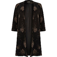 RI Plus black floral print duster jacket