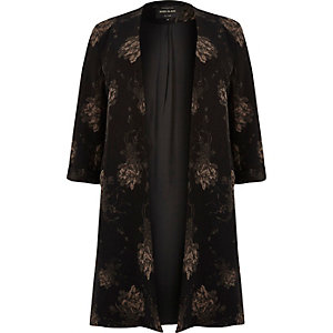RI Plus black floral print duster jacket