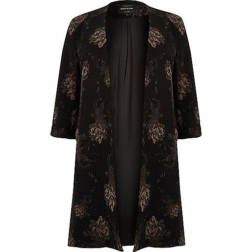 Plus black floral print duster jacket