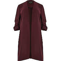 Plus burgundy ruched sleeve duster jacket
