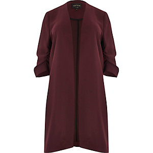 RI Plus dark red ruched sleeve duster jacket