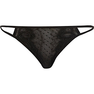 Black lace cut-out briefs