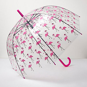 Clear flamingo print umbrella