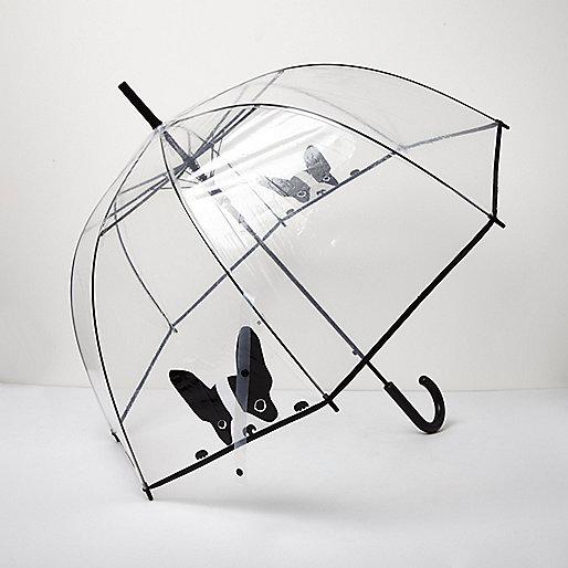 Parapluie transparent motif bouledogue français