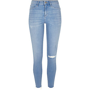 Bright blue ripped Molly jeggings