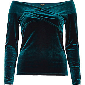 Green velvet bardot wrap top