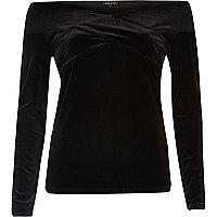 Black velvet bardot wrap top